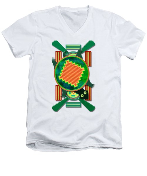 Native American 3d Turtle Motif Men's V-Neck T-Shirt by Sharon and Renee Lozen