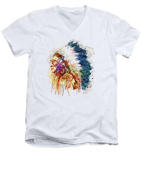 Native American Chief Side Face Men's V-Neck T-Shirt by Marian Voicu