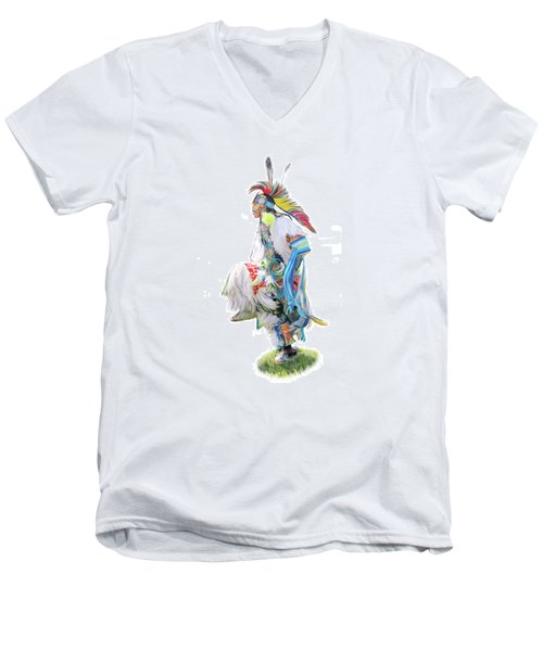 Native Pow Wow Dancer Men's V-Neck T-Shirt