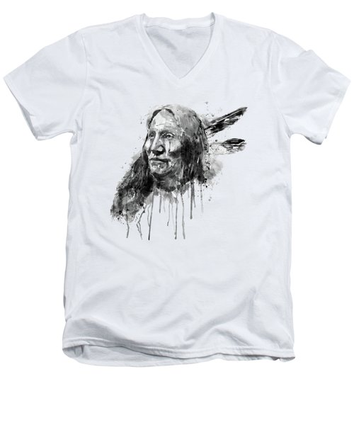 Men's V-Neck T-Shirt featuring the mixed media Native American Portrait Black And White by Marian Voicu