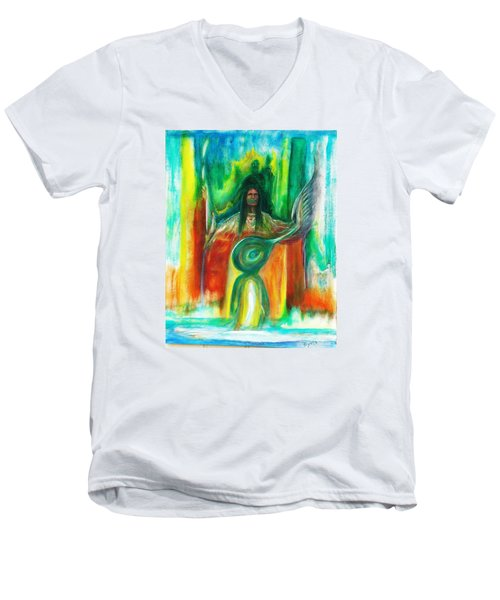 Men's V-Neck T-Shirt featuring the painting Native Awakenings by Kicking Bear  Productions