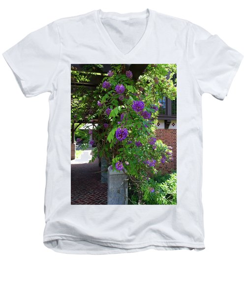 Men's V-Neck T-Shirt featuring the painting Native Wisteria Vine I by Angela Annas