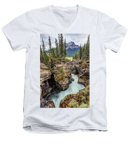 Natural Flow Of Athabasca Falls Men's V-Neck T-Shirt by Pierre Leclerc Photography