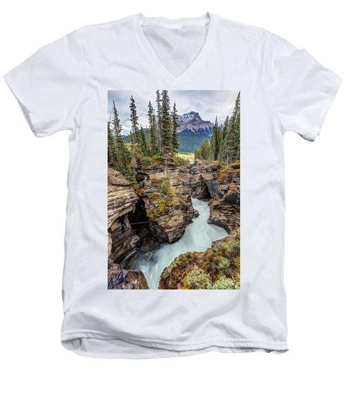 Natural Flow Of Athabasca Falls Men's V-Neck T-Shirt