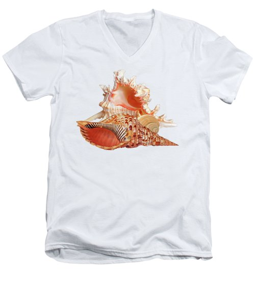 Natural Shell Collection On White Men's V-Neck T-Shirt