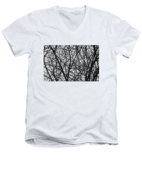 Natural Trees Map Men's V-Neck T-Shirt by Konstantin Sevostyanov