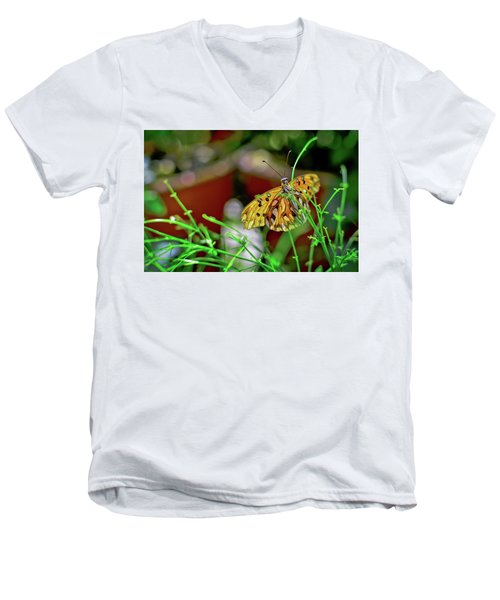 Nature - Butterfly And Plants Men's V-Neck T-Shirt