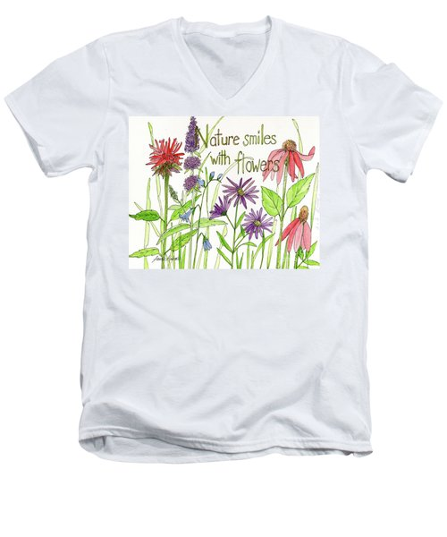 Nature Smile With Flowers Men's V-Neck T-Shirt