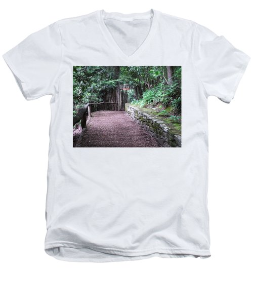 Nature Trail Men's V-Neck T-Shirt by Cathy Harper