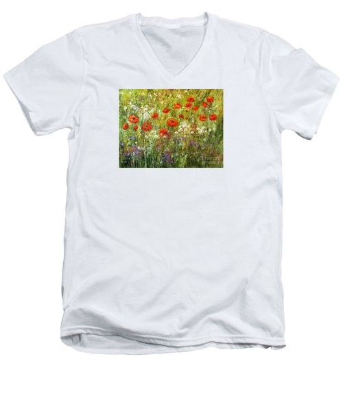 Nature Walk Men's V-Neck T-Shirt by Valerie Travers