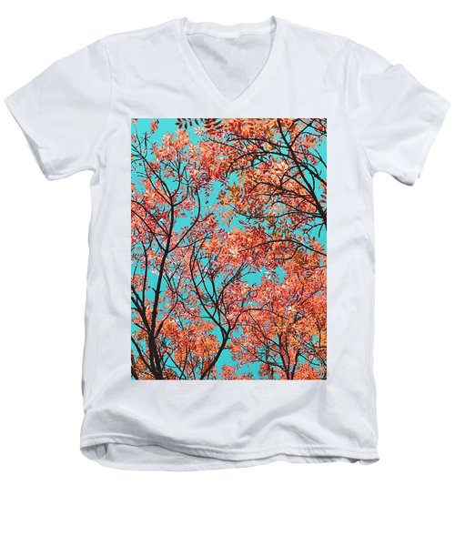Men's V-Neck T-Shirt featuring the photograph Natures Magic - Orange by Rebecca Harman