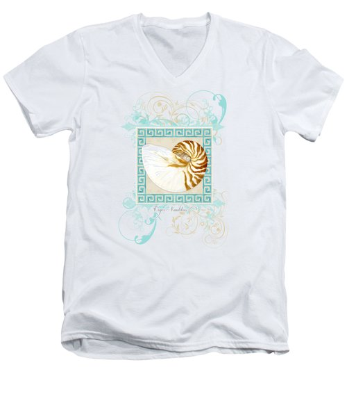 Men's V-Neck T-Shirt featuring the painting Nautilus Shell Greek Key W Swirl Flourishes by Audrey Jeanne Roberts