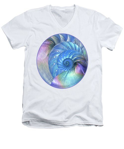 Nautilus Shells Blue And Purple Men's V-Neck T-Shirt