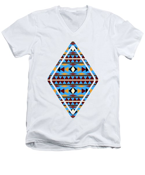 Navajo Blue Pattern Art Men's V-Neck T-Shirt