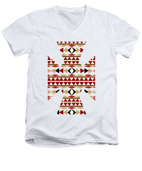 Navajo White Pattern Art Men's V-Neck T-Shirt by Christina Rollo