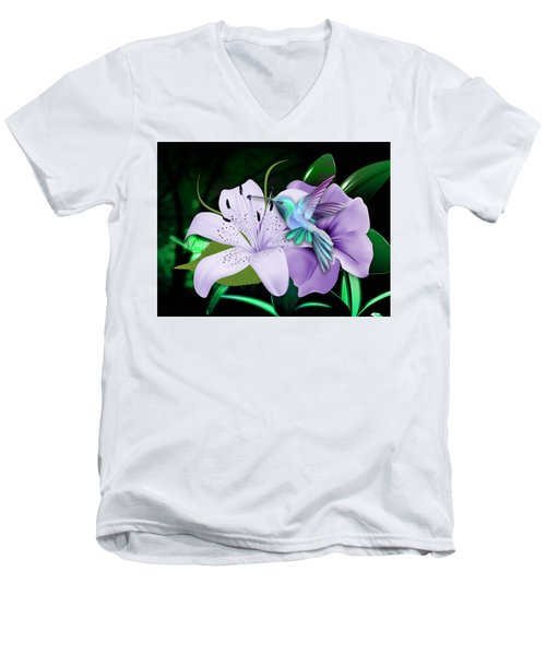 Men's V-Neck T-Shirt featuring the mixed media Navigation Humming Bird by Marvin Blaine