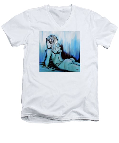Nearly Naked Blue Ombre' Men's V-Neck T-Shirt