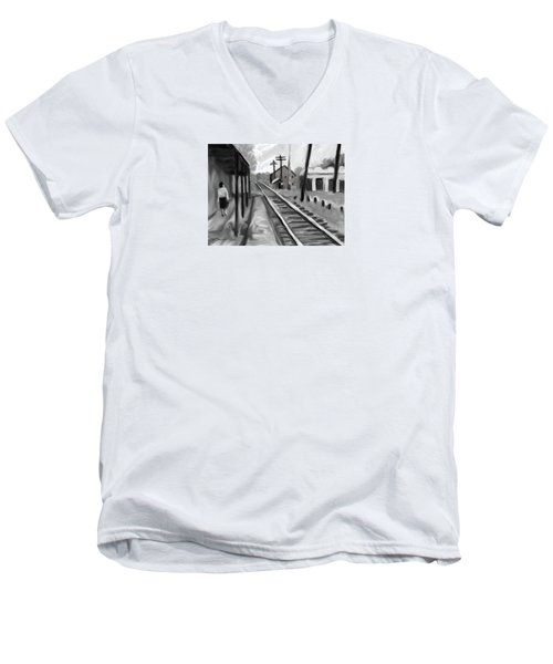 Needham Train Station 1959 Men's V-Neck T-Shirt