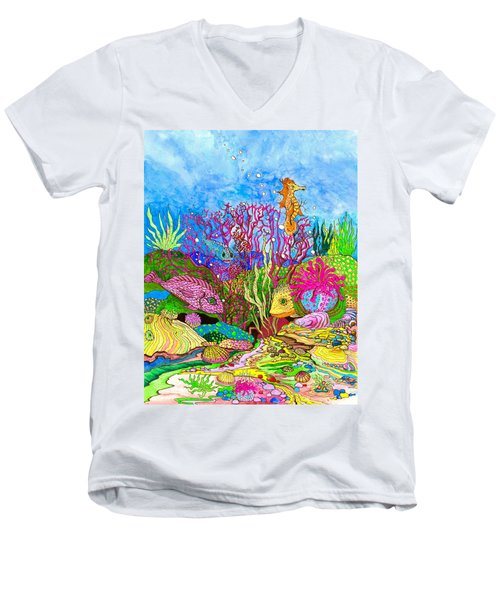 Neon Sea Men's V-Neck T-Shirt by Adria Trail