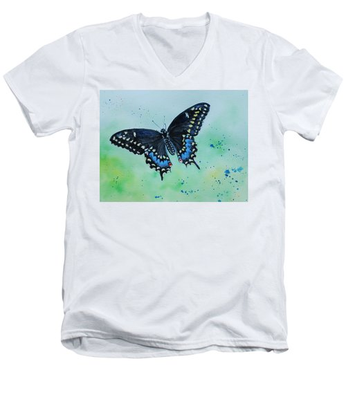 Neon Swallowtail Men's V-Neck T-Shirt