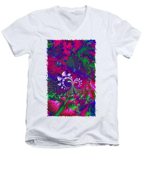 Nerd Berries Psychedelic Fractal Men's V-Neck T-Shirt by Sharon and Renee Lozen