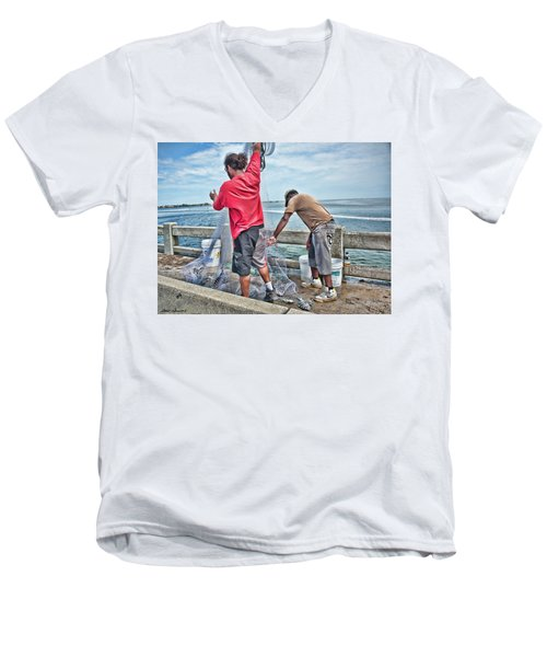 Net Fishing On Cortez Bridge  Men's V-Neck T-Shirt