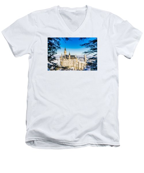 Neuschwanstein Castle Men's V-Neck T-Shirt by Alpha Wanderlust