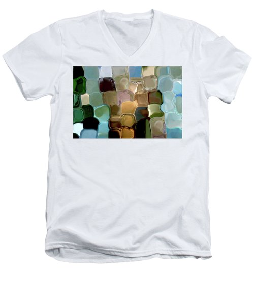 Neutrals In Light Abstract Men's V-Neck T-Shirt by Haleh Mahbod
