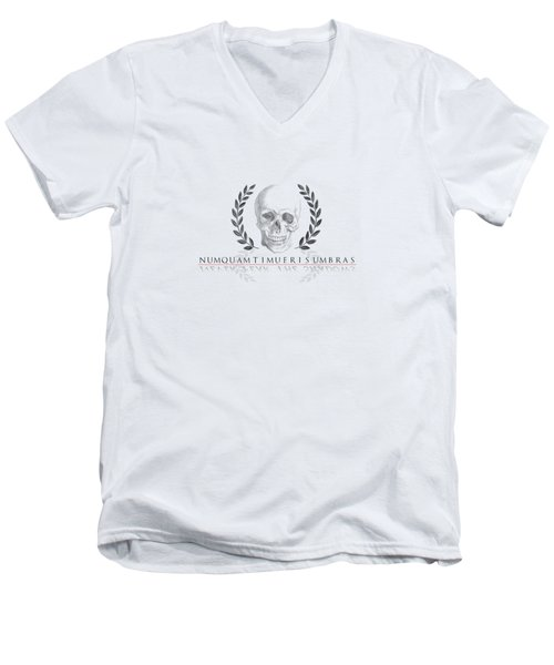 Never Fear The Shadows Stoic Skull With Laurels Transparent Men's V-Neck T-Shirt