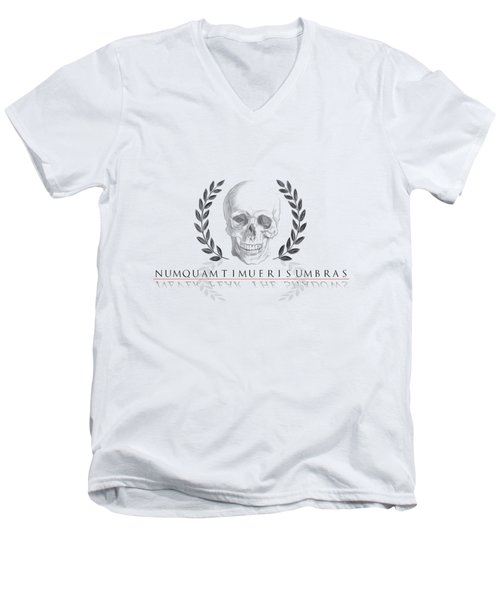 Never Fear The Shadows Stoic Skull With Laurels Men's V-Neck T-Shirt
