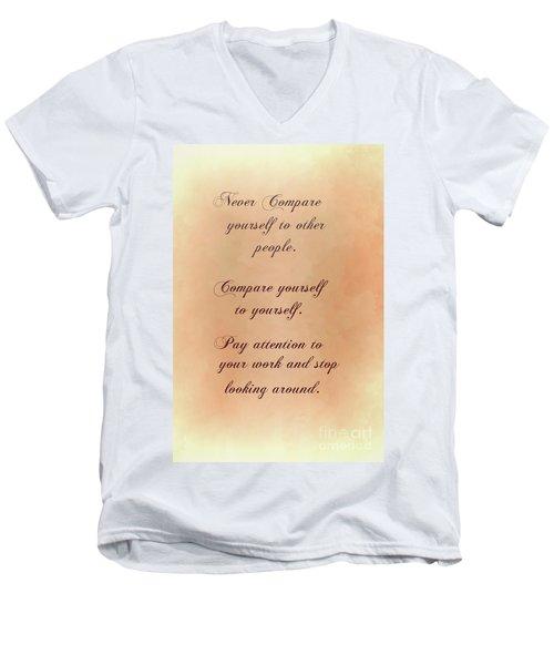 Men's V-Neck T-Shirt featuring the digital art Never by Jim  Hatch