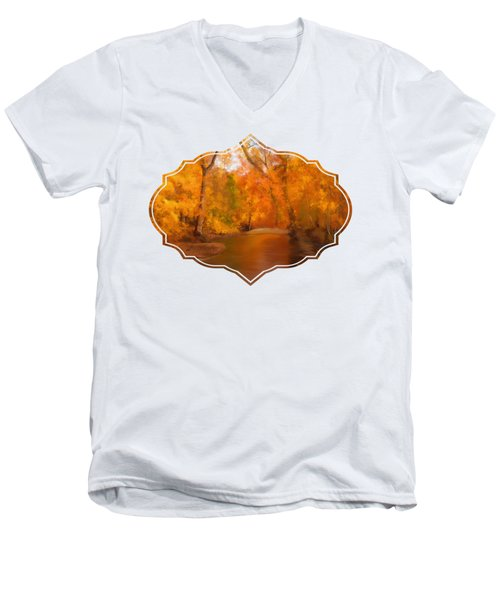 New England Autumn In The Woods Men's V-Neck T-Shirt
