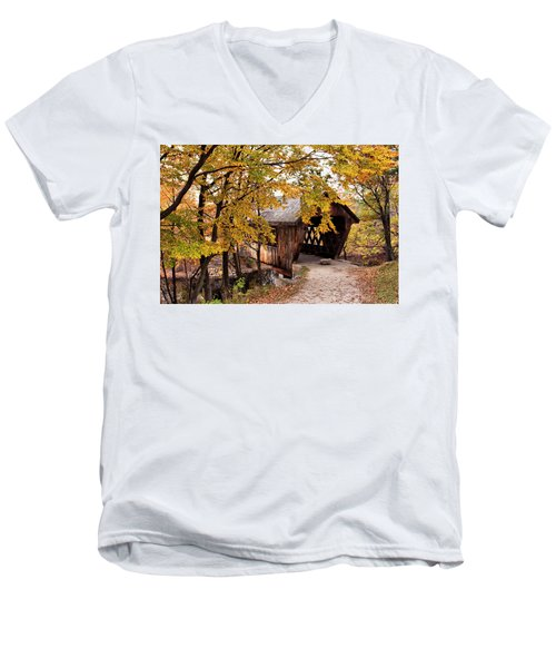 New England College No. 63 Covered Bridge  Men's V-Neck T-Shirt by Betty Pauwels