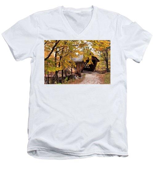 New England College No. 63 Covered Bridge  Men's V-Neck T-Shirt