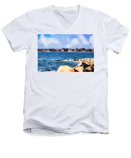 New England Shoreline - Painterly Men's V-Neck T-Shirt by Judy Palkimas