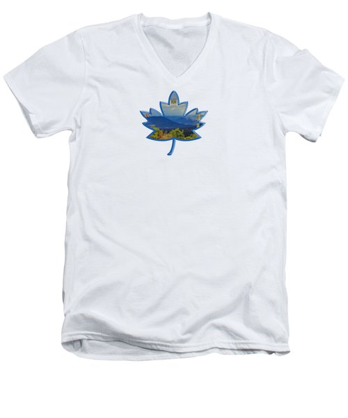 New Hampshire Maple Leaf Design Men's V-Neck T-Shirt by Mim White