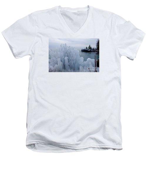New Ice On Lake Superior Men's V-Neck T-Shirt by Sandra Updyke