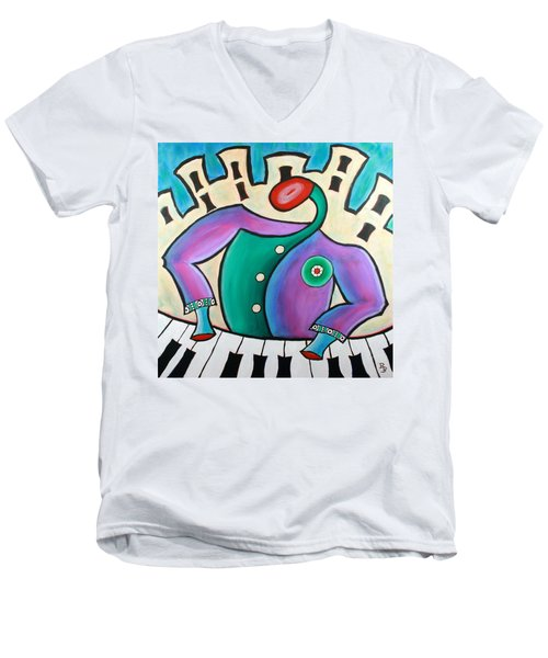 New Orleans Cool Jazz Piano Men's V-Neck T-Shirt by Bob Baker