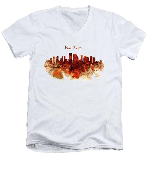 New Orleans Watercolor Skyline Men's V-Neck T-Shirt