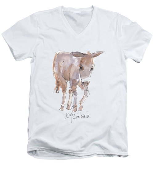 New Pasture Boss Men's V-Neck T-Shirt by Kathleen McElwaine