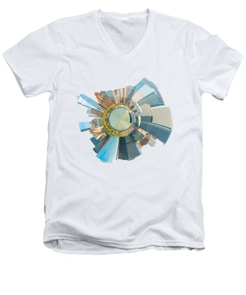 Men's V-Neck T-Shirt featuring the photograph New York Circle by Alice Gipson
