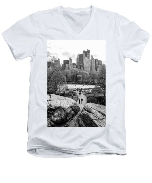 New York City Central Park Ice Skating Men's V-Neck T-Shirt