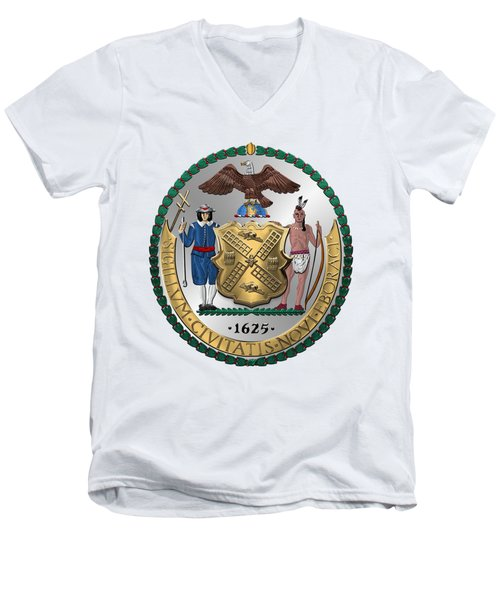 New York City Coat Of Arms - City Of New York Seal Over White Leather  Men's V-Neck T-Shirt