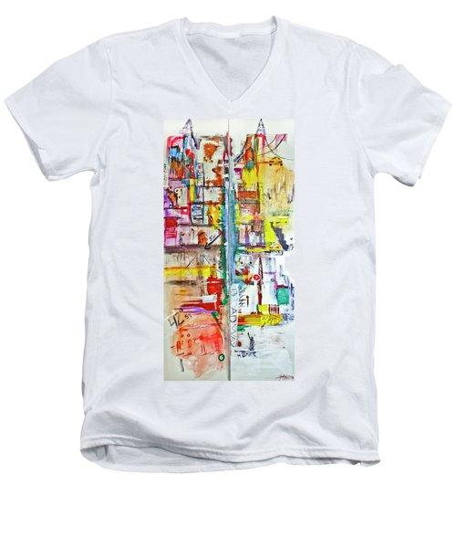 New York City Icons And Symbols Men's V-Neck T-Shirt