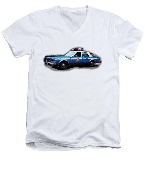 New York City Police Patrol Car 1980s Men's V-Neck T-Shirt by Tom Conway