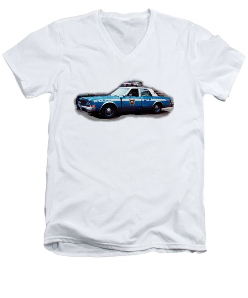 New York City Police Patrol Car 1980s Men's V-Neck T-Shirt