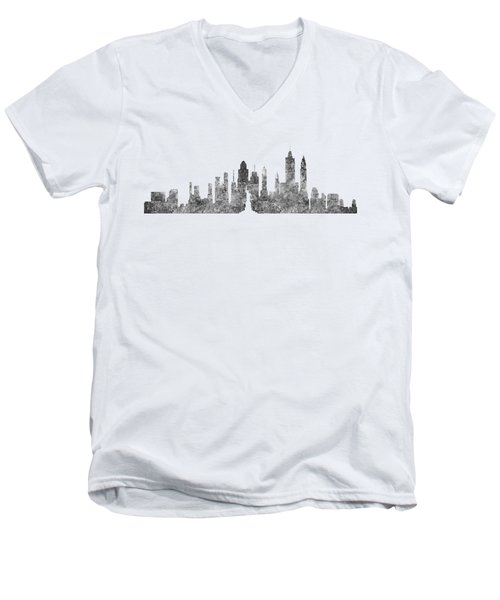New York City Skyline B/w Men's V-Neck T-Shirt by Anton Kalinichev