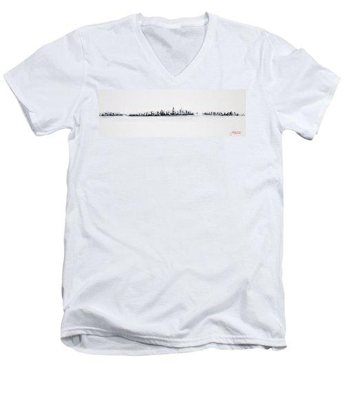 New York City Skyline Black And White Men's V-Neck T-Shirt