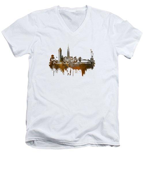 New York City Skyline Brown Men's V-Neck T-Shirt by Justyna JBJart