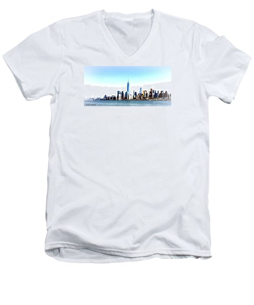 Men's V-Neck T-Shirt featuring the painting New York City Skyline by Denise Tomasura